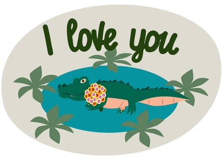 Lettering. I love you. The phrase expressing the idea. The little crocodile tries to illustrate the words. Vector illustration.