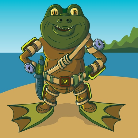 Amphibian warrior ? ??????. Alien alien intelligence. Vector illustration