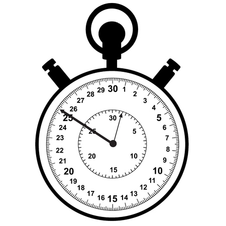 Stopwatch. Mechanism for accurate measurement of time intervals. Sport and training. Vector illustration. Illustration
