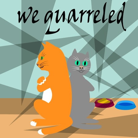 We quarreled. Disorder in a young family. Vector illustration. Illustration