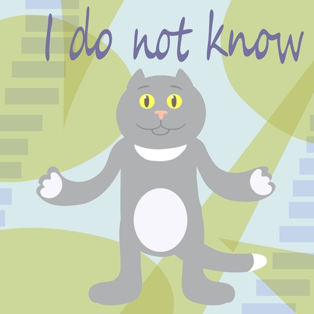 I do not know. Kitty in disbelief. Vector illustration. Foto de archivo - 124386197