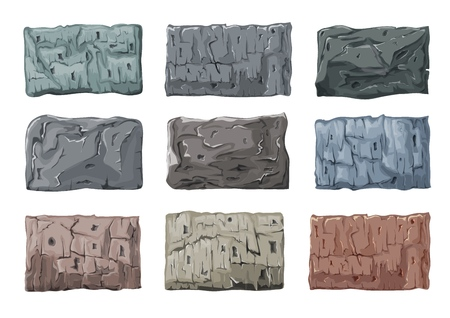 A set of stone blocks. Heavy, massive granite glitches. Vector illustration.