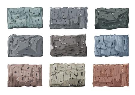 Zestaw bloków kamiennych. Ciężkie, masywne trzaski z granitu. Ilustracja wektorowa.