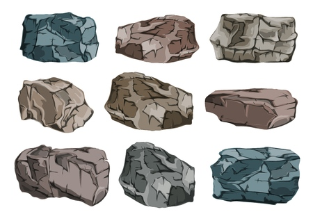 A set of stone blocks. Heavy, massive granite glitches. Vector illustration.
