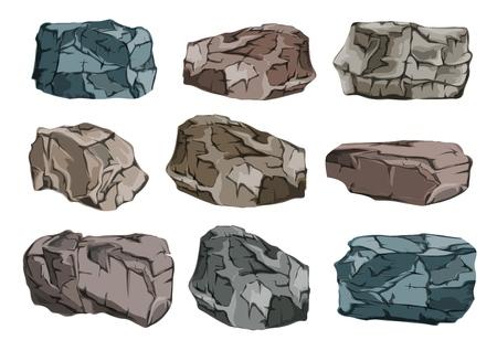 Un insieme di blocchi di pietra. Glitch di granito pesanti e massicci. Illustrazione vettoriale. Vettoriali