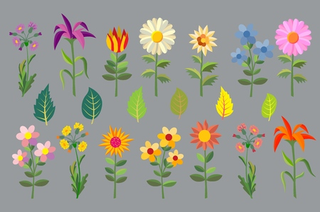 Multicolored spring flowers. Nature is blooming and joyful. Vector illustration Imagens - 124891092