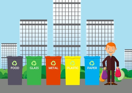 Waste management concept. Separate waste collection for environmental conservation. Vector illustration.
