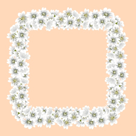 Wreath of flowers. Suitable for printing cards with floral ornaments. Vector illustration. Illustration