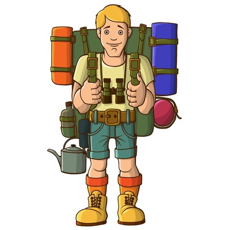 Young sports tourist with a backpack and ammunition. Ready for a hike and adventure. Vector illustration.