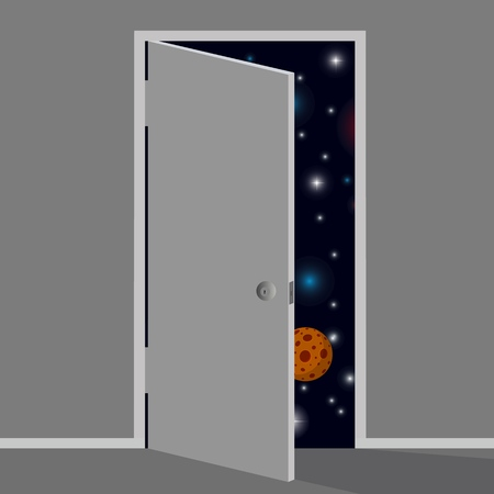 From the little gray world opened the door to infinite space. Vector illustration.