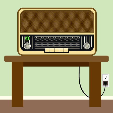 Old radio. The ability to listen to the whole world. Vector illustration.
