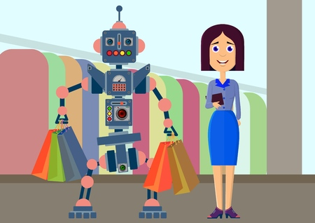 Robot and man make a purchase in the store. Vector illustration. Çizim