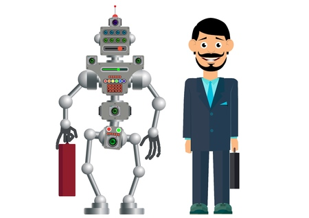 Business partners, man and robot. The development of civilization. Vector illustration. Ilustração