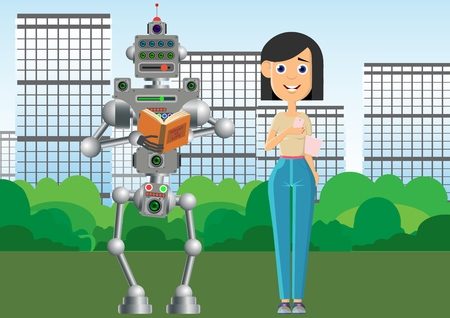 Man and robot are reading books. The robot prefers old books on paper. Vector illustration. Çizim