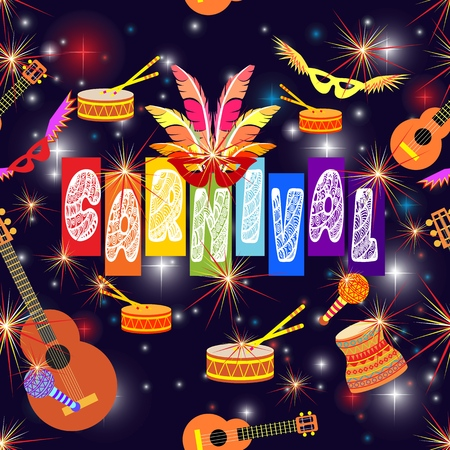 Happy holiday, carnival. Music festival, masquerade flyer. Joy, dancing and fireworks. Vector illustration. 写真素材 - 124891305