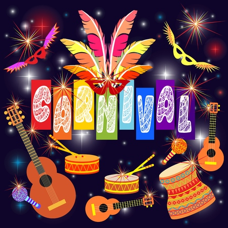 Happy holiday, carnival. Music festival, masquerade flyer. Joy, dancing and fireworks. Vector illustration.