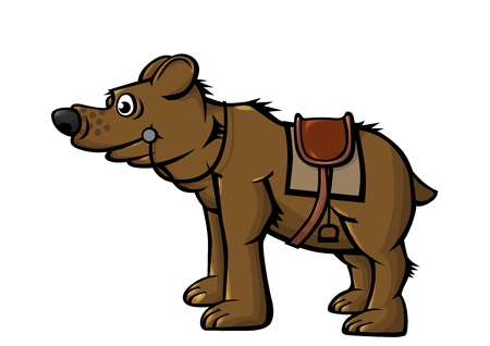 Fighting, riding bear. Animal intended for riding. In combat, a combat bear beats its paws and bites. Vector illustration. Ilustrace