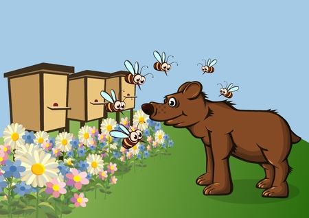 The bear came for honey. Bees fly around with displeasure. Vector illustration. Ilustração