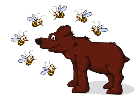 The bear came for honey. Bees fly around with displeasure. Vector illustration. Illustration