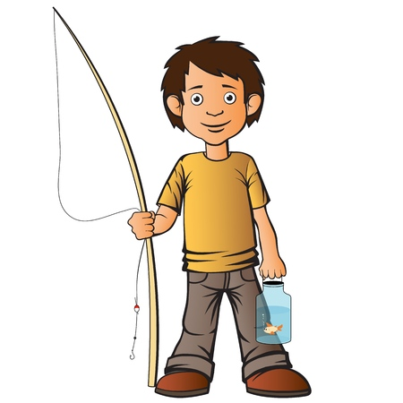 The boy caught a fish with a fishing rod. Put it in the jar and carries it home. Little lucky fisherman. Vector illustration