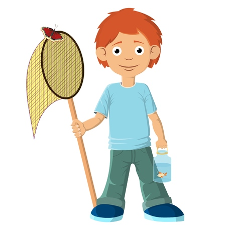The boy caught a fish with a net. Put it in the jar and carries it home. Vector illustration