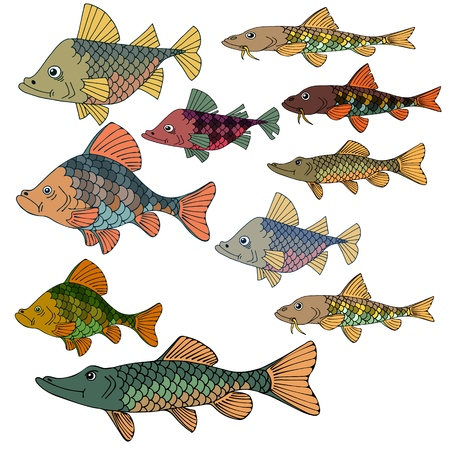 Set of sea fish. Underwater world. Great silence of the depths. Vector illustration.