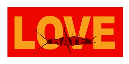 The concept of love and hate. From love to dislike there can be one step. Long live love. Vector illustration.