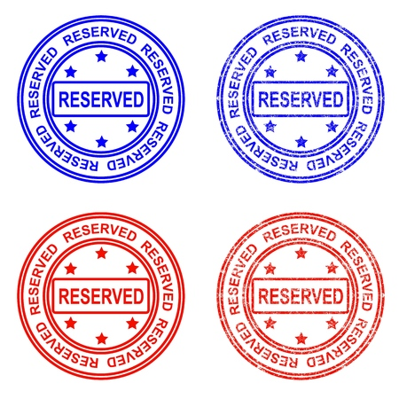 Stamp and stamp, payment, sold, reserved. Written inside the stamp. Vector illustration.