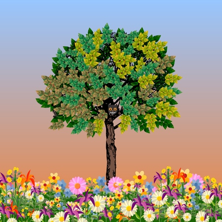 Vector image of a tree with green foliage. The theme of nature and or green spaces. Vector illustration.
