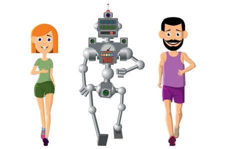 Young man, woman play sports with a robot. Running is very useful. The correct way of life. computer mechanism helps people. Vector illustration.