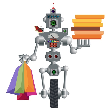 Humanoid robot, electronic computer device. Delivers pizza and products on request. It works quickly and without errors. Vector illustration 向量圖像