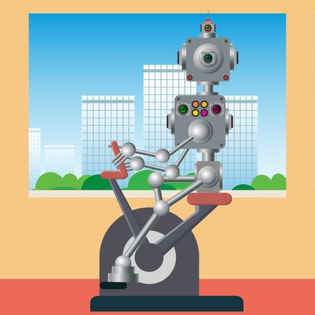 The cybernetic mechanism is engaged in trainings on a stationary bike. Caring for health and good mood. Vector illustration