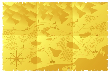 World map illustration. Old style. Mountains, forests, cities, rivers on old parchment. Vector illustration