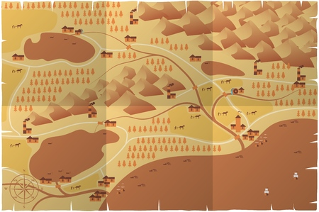 World map illustration. Old style. Mountains, forests, cities, rivers on old parchment Vector illustration