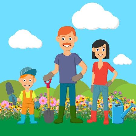 Young family working in the garden. Plant flowers and vegetables. Dad, mom and child work together. Sunny spring day.