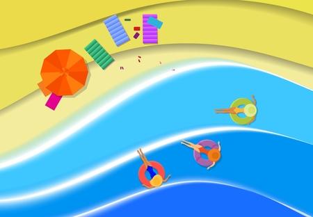 Sea coast, a beach from warm light sand. Parasol, rest on the shore of the warm sea. Vector illustration. Ilustração