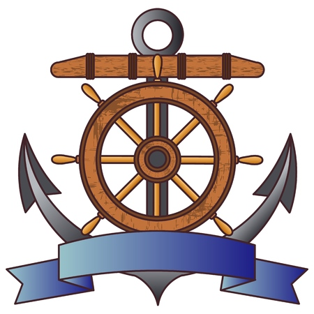 Anchor and steering wheel. Symbols of the fleet and sea adventures. Vector illustration. Illustration