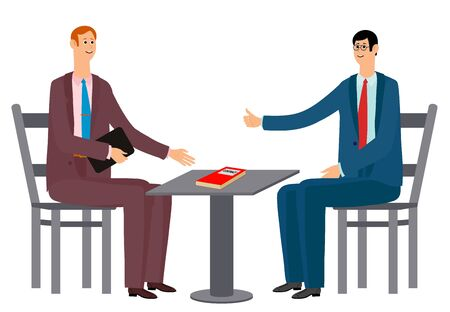 Two businessmen rejoice in success. Victory came after hard work. Two men in office suits and ties, sitting at the table. On the table is an important contract. Vector illustration