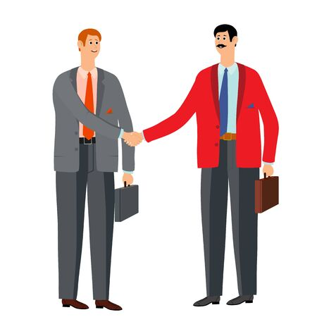Two businessmen rejoice in success. The victory came after hard and hard work. Two men in office suits with ties. Vector illustration. Ilustração