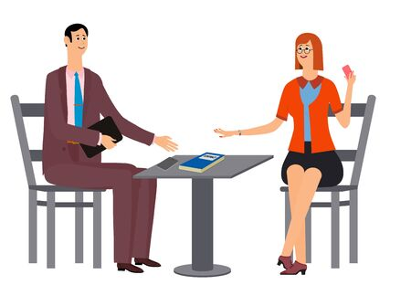 Two managers rejoice in success. Victory came after hard work. A man and a woman are sitting at the table, an important contract is on the table. Vector illustration