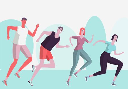 Run training. Men and women train on a summer day in nature. Vector illustration.