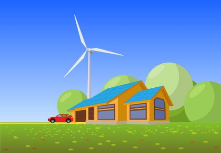 Isolated vector illustration of clean electric energy from the sun and wind of renewable sources. Buildings of a power plant with solar panels and wind turbines on the background of a country house.