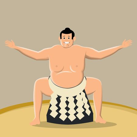 Sumo fighter, ready for the fight. Traditional Japanese martial arts. Big, heavy men go on a duel in front of an admiring audience. Vector illustration. Illustration