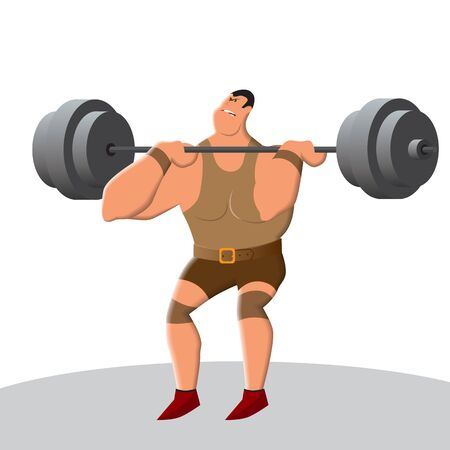 Weightlifting develops strength and endurance. Lifting the bar is a heavy and tough sport. A strong man lifts an exorbitant weight. Vector illustration  イラスト・ベクター素材