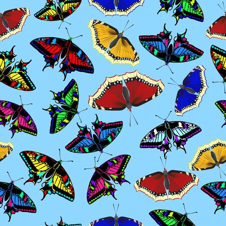 Multi-colored butterflies on a light background. Summer background with butterflies. Seamless vector illustration.