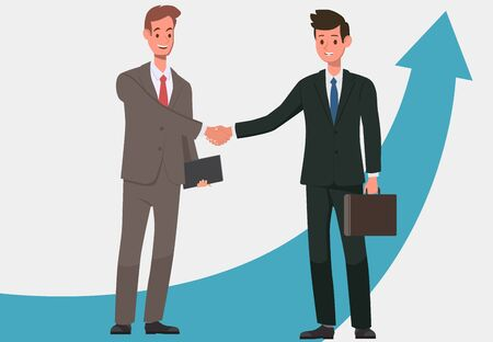 Two businessmen rejoice in success. The victory came after hard and hard work. Two men in office suits with ties. Vector illustration. Ilustracja