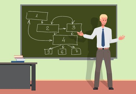 Businessman teacher giving a lecture or presentation to employees. The boss draws in chalk on a blackboard, giving explanations. Conference room with blackboard. Flat style vector illustration.