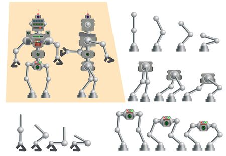 Cute humanoid robot. Set of different parts of the body of the robot to create your own illustration. Various Cyborg Collection. Concept flat vector illustration. Banque d'images - 129236686