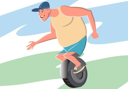 A big fat man rides a monocycle. Exercising leads to health and longevity. Sports and physical education are helpful. Vector illustration