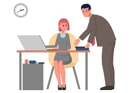 Workplace. A businessman works on a computer. An office team colleague came up to talk on business. Teamwork is productive and profitable. Flat vector illustration. Çizim